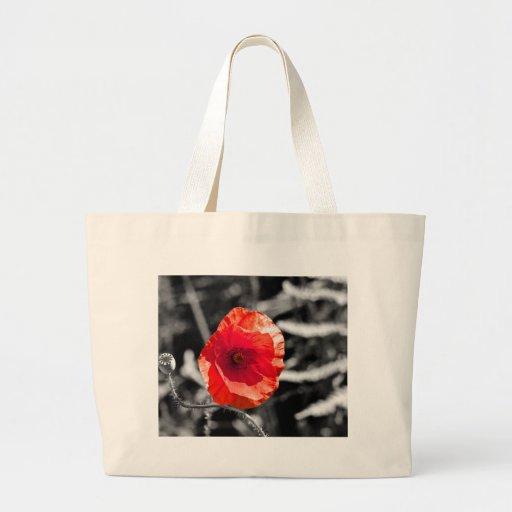 Amapola roja en blanco y negro bolsa tela grande