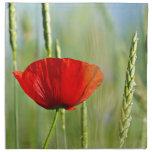 Amapola roja en el campo de maíz servilletas imprimidas