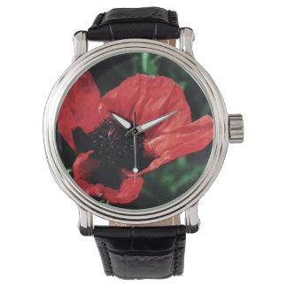 Amapola roja parecida al papel relojes de mano
