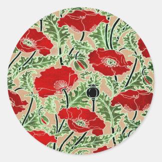 Amapola roja pegatina redonda