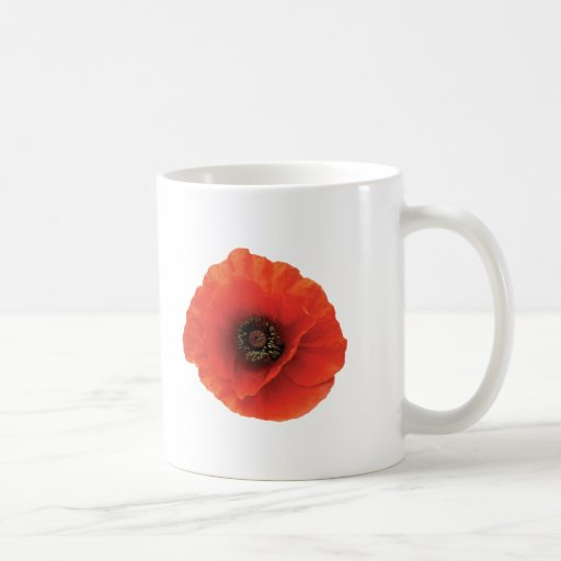 Amapola roja taza básica blanca