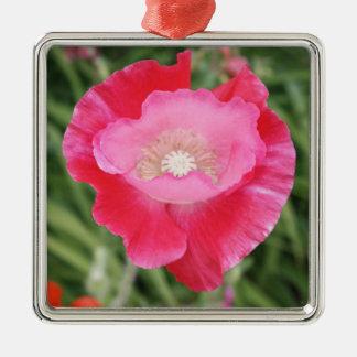 Amapola rosada adorno navideño cuadrado de metal
