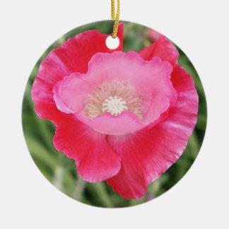 Amapola rosada adorno navideño redondo de cerámica