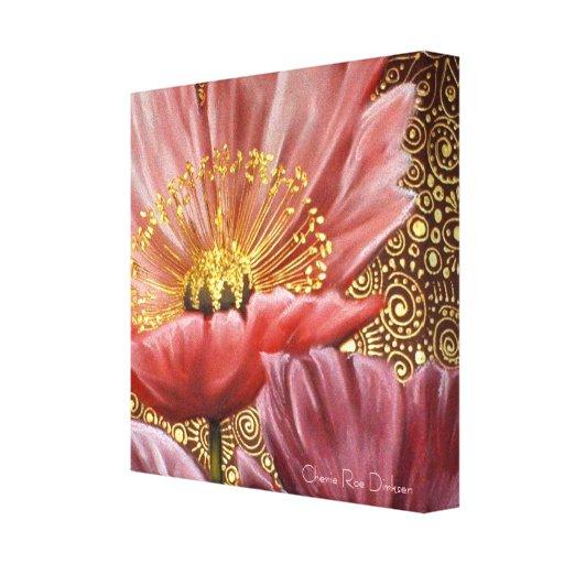 Amapola rosada con el estambre del oro en espirale impresiones en lienzo estiradas