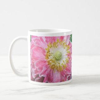 Amapola rosada con volantes tazas de café