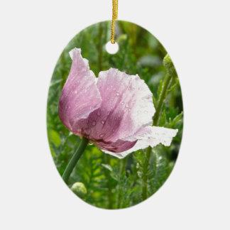 Amapola rosada dulce con las gotas de agua adorno navideño ovalado de cerámica