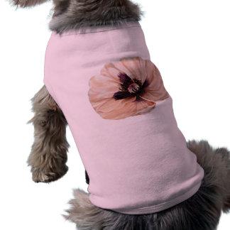 Amapola rosada suave playera sin mangas para perro