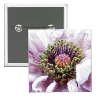 Amapola - volantes púrpuras elegantes pin cuadrado
