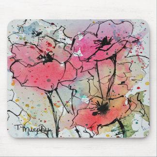 Amapolas abstractas en Mousepad rosado