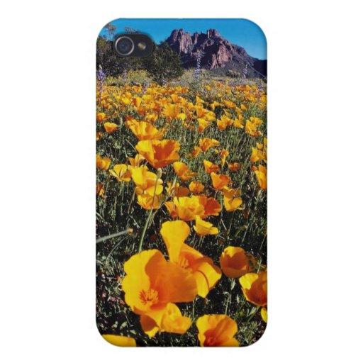 amapolas amarillas, nacional Monumen del cactus de iPhone 4/4S Fundas