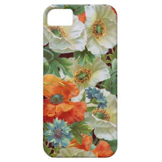 Amapolas anaranjadas blancas en el caso floral del iPhone 5 protectores