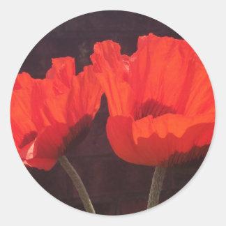 Amapolas anaranjadas brillantes pegatina redonda