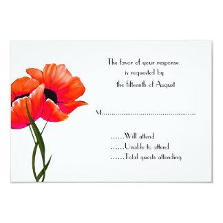"""Amapolas anaranjadas que casan la tarjeta de la invitación 3.5"""" x 5"""""""