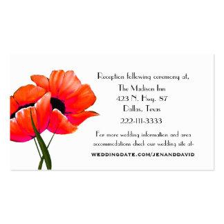Amapolas anaranjadas que casan tarjetas del tarjetas de visita