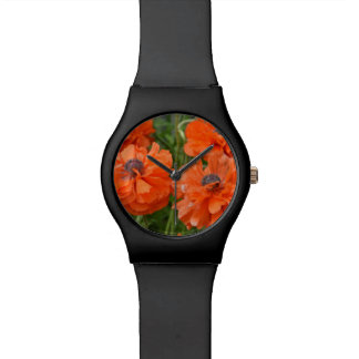 Amapolas anaranjadas reloj de mano