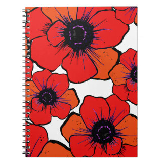 Amapolas anaranjadas rojas intrépidas libros de apuntes con espiral