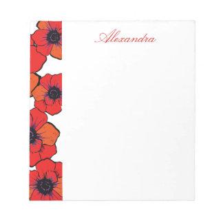 Amapolas anaranjadas rojas intrépidas libretas para notas