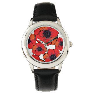 Amapolas anaranjadas rojas intrépidas reloj