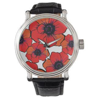 Amapolas anaranjadas rojas intrépidas reloj de mano