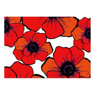 Amapolas anaranjadas rojas intrépidas tarjetas de visita grandes