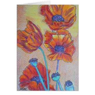 Amapolas anaranjadas tarjeta pequeña