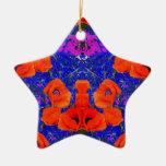 Amapolas anaranjadas y jardín azul por SHARLES Ornamentos De Reyes