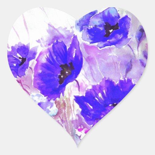 Amapolas azules de la acuarela pegatina en forma de corazón