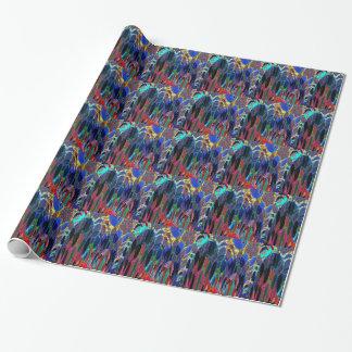 Amapolas azules en jardín papel de regalo