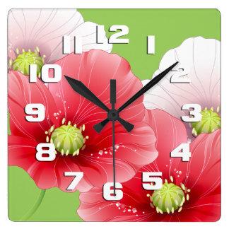 Amapolas bonitas florales reloj cuadrado