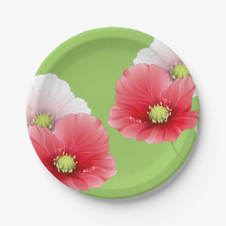 Amapolas bonitas florales plato de papel 17,78 cm