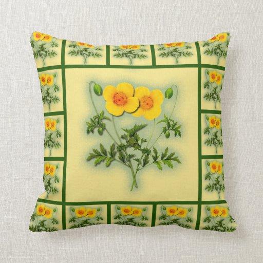 Amapolas brillantes en amarillo con la almohada