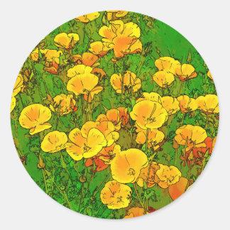 Amapolas de California anaranjadas Pegatina Redonda