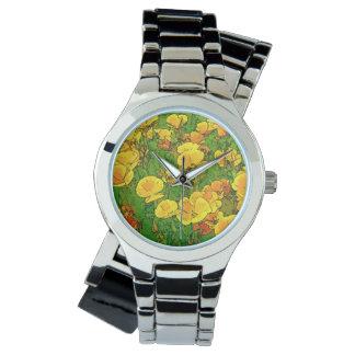 Amapolas de California anaranjadas Reloj De Mano