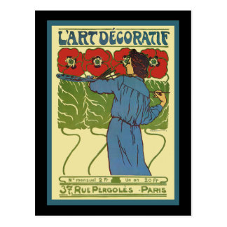 Amapolas de la pintura de la mujer del art déco tarjetas postales