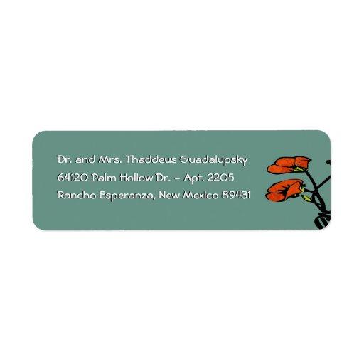 Amapolas de Nouveau en el verde de la pátina (remi Etiqueta De Remite