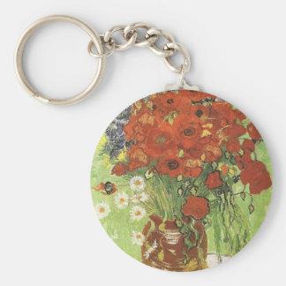 Amapolas de Van Gogh Llavero Redondo Tipo Pin