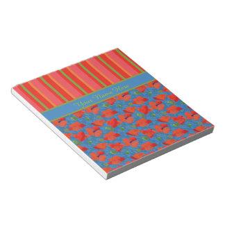 Amapolas del escarlata, libreta de las rayas o bloc