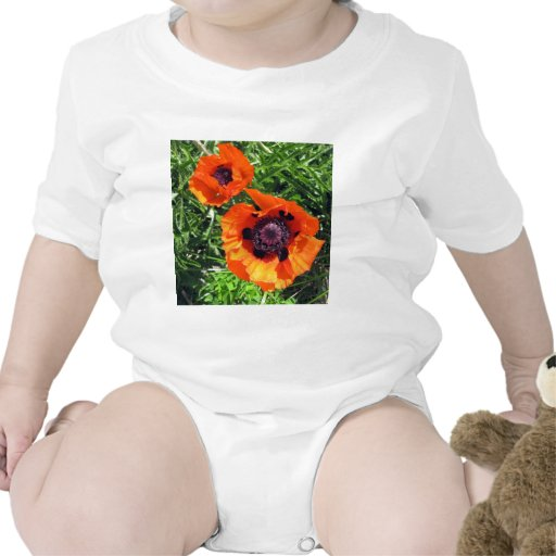 Amapolas del naranja de la amapola traje de bebé