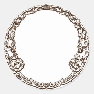 Amapolas del Ornamental de Nouveau del arte Pegatina Redonda