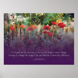 Amapolas del rezo de la serenidad y poster de la c