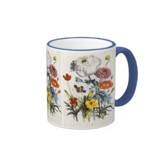 Amapolas en el jardín, flores del vintage del taza de dos colores