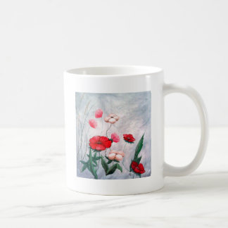 Amapolas en la primavera taza