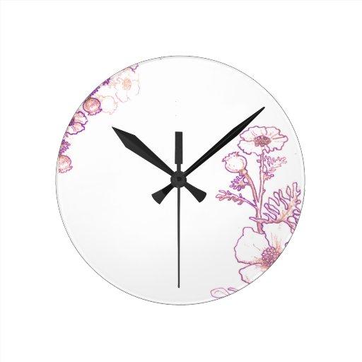 Amapolas en púrpura y el pergamino reloj