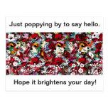 Amapolas, floral brillante, hola tarjeta postal
