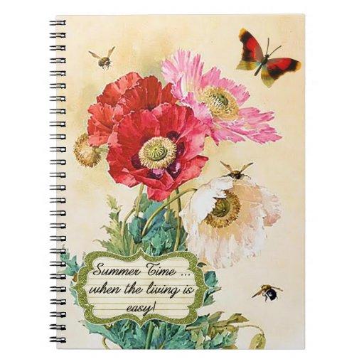 Amapolas florales del vintage del tiempo de verano libros de apuntes con espiral