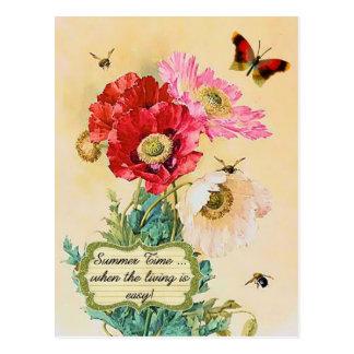 Amapolas florales del vintage del tiempo de verano postal