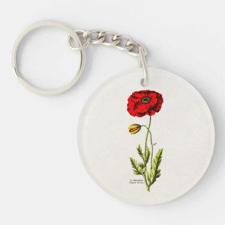 Amapolas florales rojas de la flor salvaje de la llavero redondo acrílico a una cara