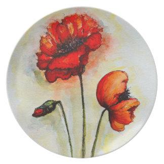 Amapolas - placa de la melamina platos para fiestas