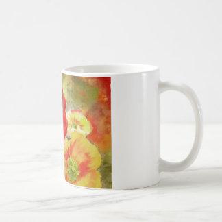 Amapolas rojas abstractas taza de café