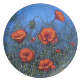 Amapolas rojas, arte pintado a mano, floral plato de cena
